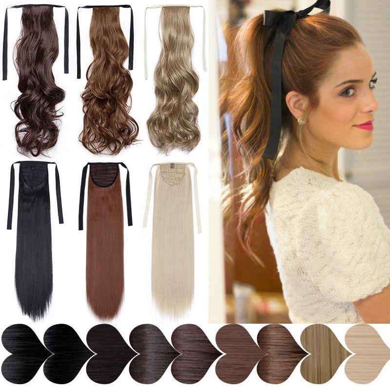 Clip de cordón ondulado s-noilite de 18 pulgadas en cola de caballo, extensión de cabello, cola falsa, peluca de pelo, cola de caballo sintética para mujeres