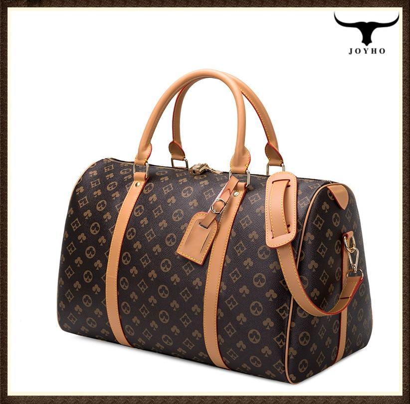 패션 여행 가방 남자 여자 클래식 PU 가죽 짐 가방 여성 휴대용 대용량 경량 여행 피트 니스 가방