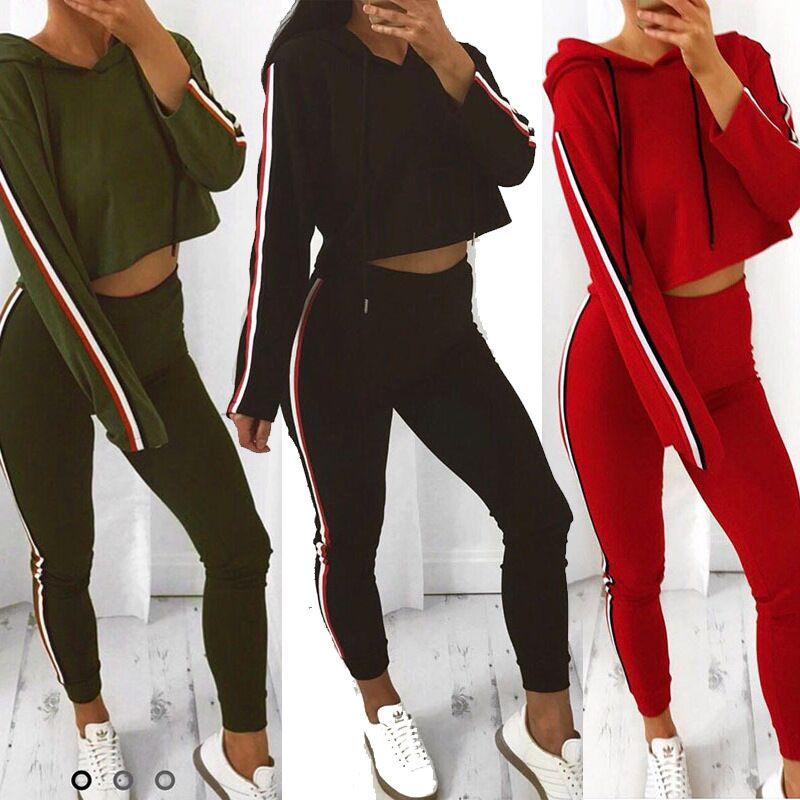2020 Autumn Fashing Long Sleeve Cropped Hoodies Pants Women Casual Tracksuit Set Fashion Side Stripe Splice Women 2 Piece Set