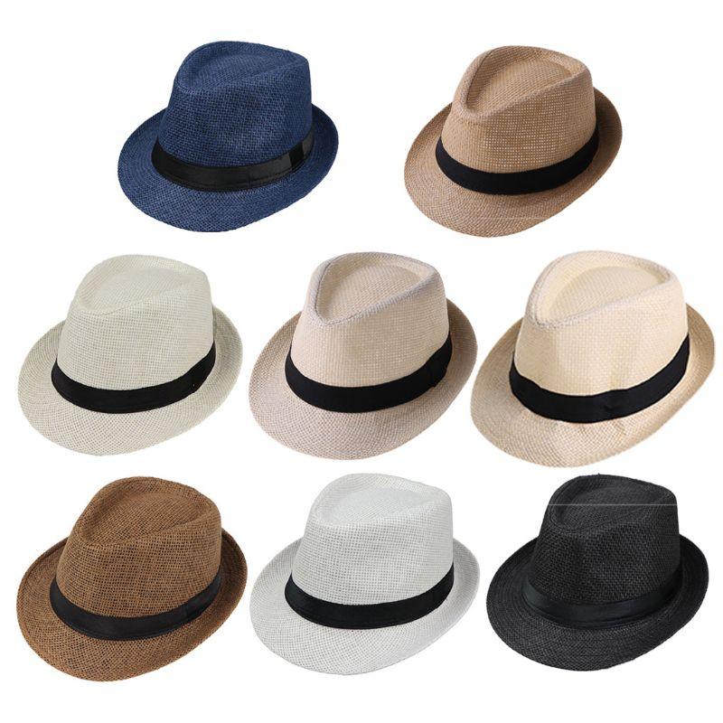 8Color Children Kids Summer Beach Straw Hat Jazz Panama Trilby Fedora Hat Gangster Cap Outdoor Breathable Hats Girls Boys Sunhat