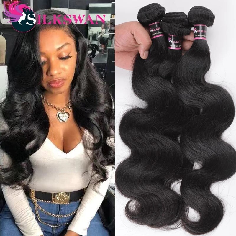 Silkswan Human Hair Weft Body Wave Hair Bundles 24 26 28 Inches Brazilian Remy Hair Extentions 1/3/4