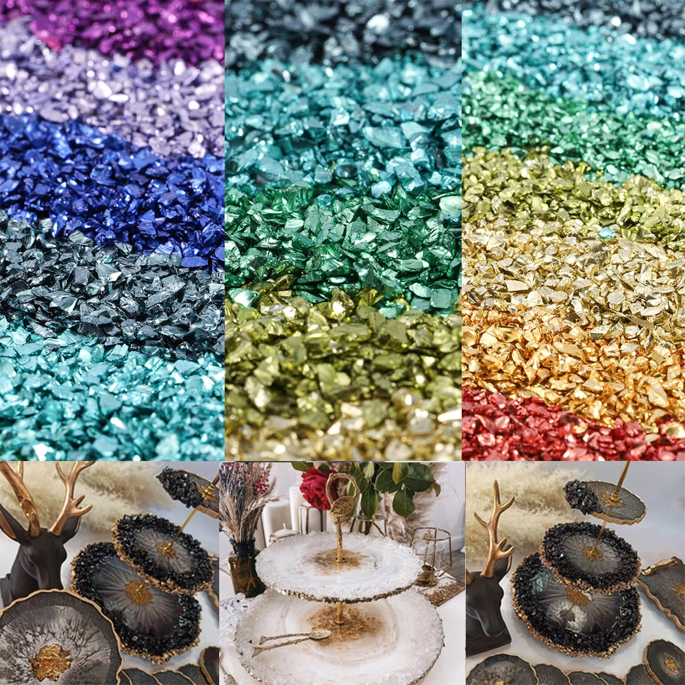 20g/Lot Glass Metal Crushed Stone Filler DIY Table Decoration Cake Fruit Coaster Filling Decorative Crystal For Epoxy Resin Mold
