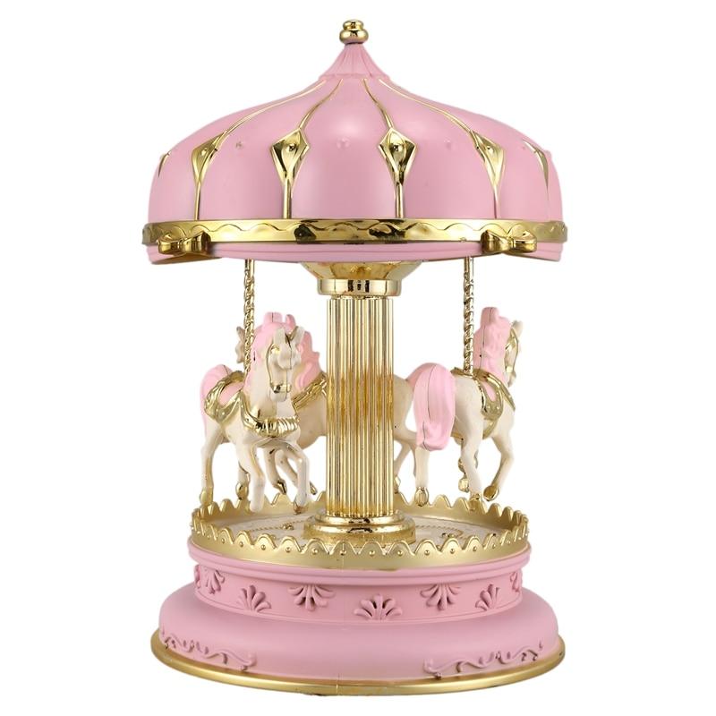 Caja de música de ABSS-LED, cajas de música redondas, decoración, caja de música de caballo, carrusel brillante, regalo de Navidad, boda, cumpleaños