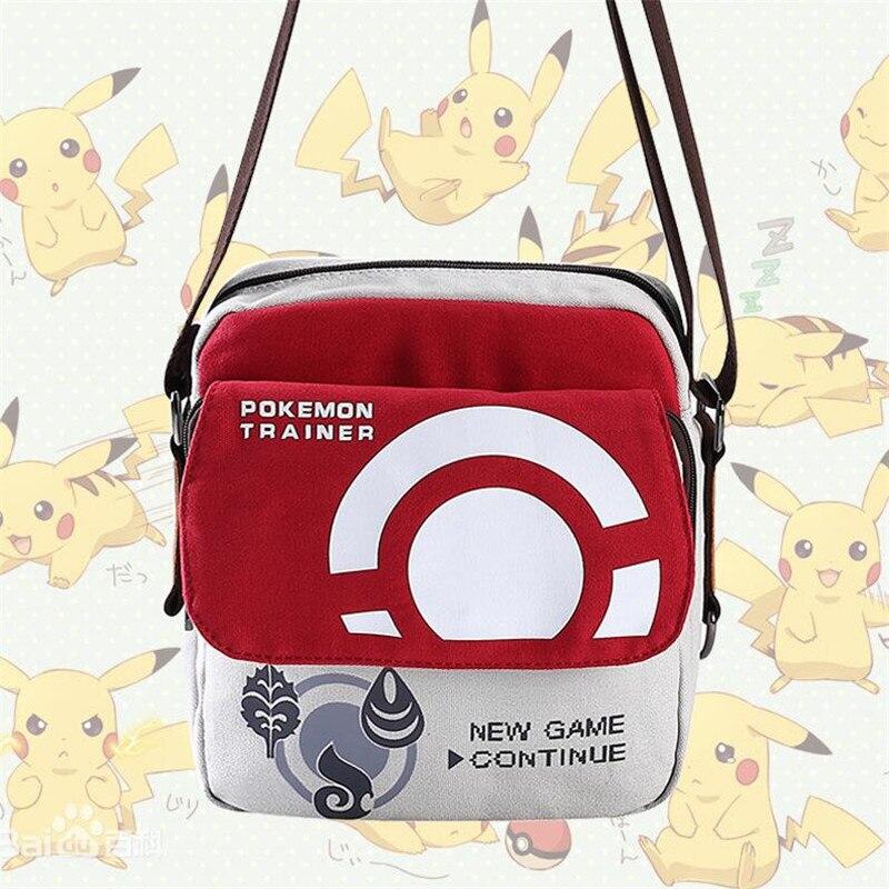 Wholesale Hot Japan Game Anime Pokemon Trainer Shoulder Bag Cartoon Cute Pocket Monsters Messenger Bag Fashion Canvas Haversack