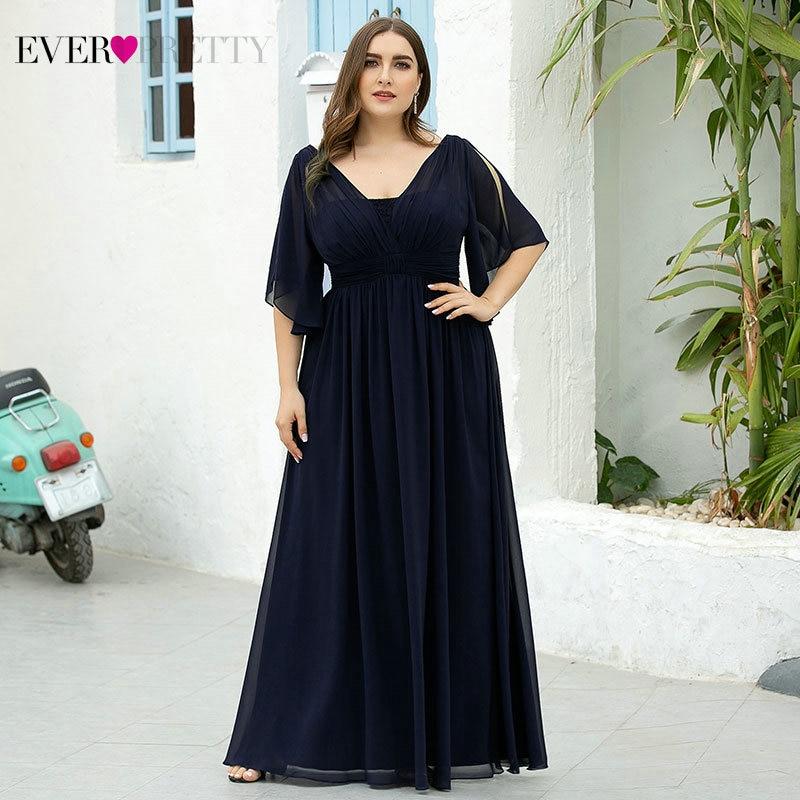 Plus Size Evening Dresses Ever Pretty Elegant A-line V-neck Short Sleeve Long Chiffon Formal Dress For Wedding Party Vestidos