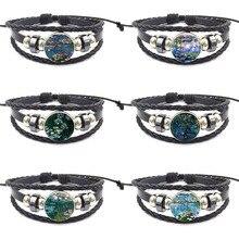 Zgbywsjz pour unisexe cadeau dessin animé verre Cabochon bijoux Bracelet en cuir noir Bracelet Claude Monet nénuphars