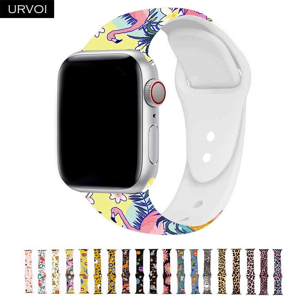 Correa de silicona URVOI para apple watch, Correa deportiva para iWatch apple watch Series 5 4 3 2 1, reemplazo de flamenco leopardo 40mm 44mm