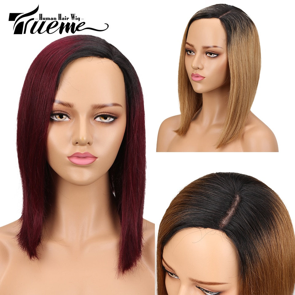 Trueme Fashion Cosplay Wig Brazilian Straight Human Hair Side Part Front Lace Wig Ombre Brown Red Blue Wig Remy fashion side bang short straight orange charming kousaka honoka cosplay wig with double chignons