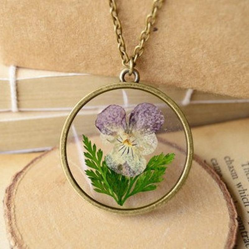 Adornos Pansy flores naturales secas collar Vintage collares para collares de mujer, joyería collar inicial