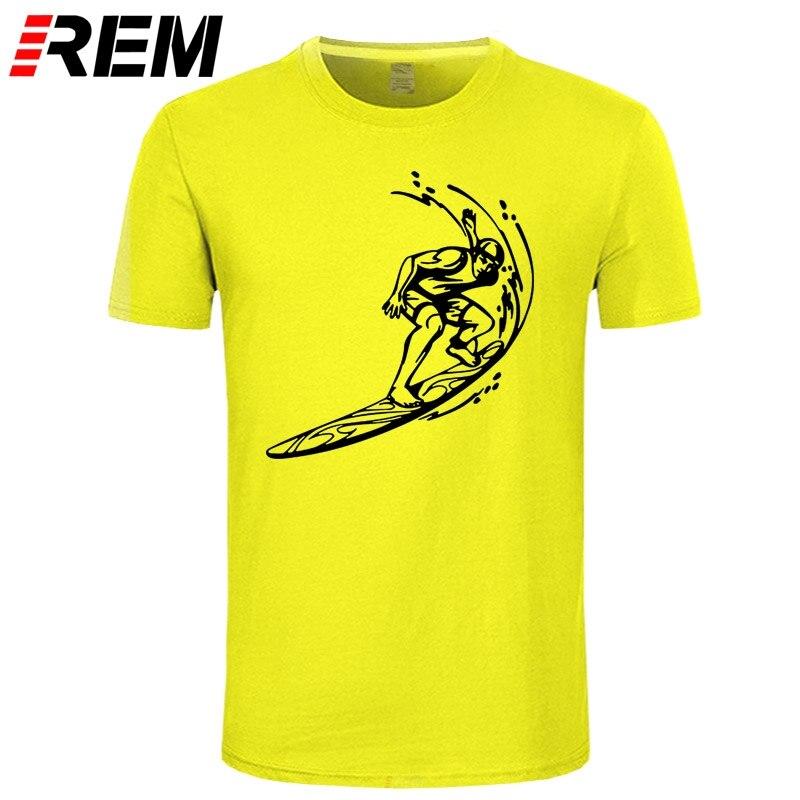 REM męskie bawełniane koszulki Streetwear deska surfingowa męskie raglanowe rękawy ubrania koszulki Surffing koszulki Top na co dzień Tees
