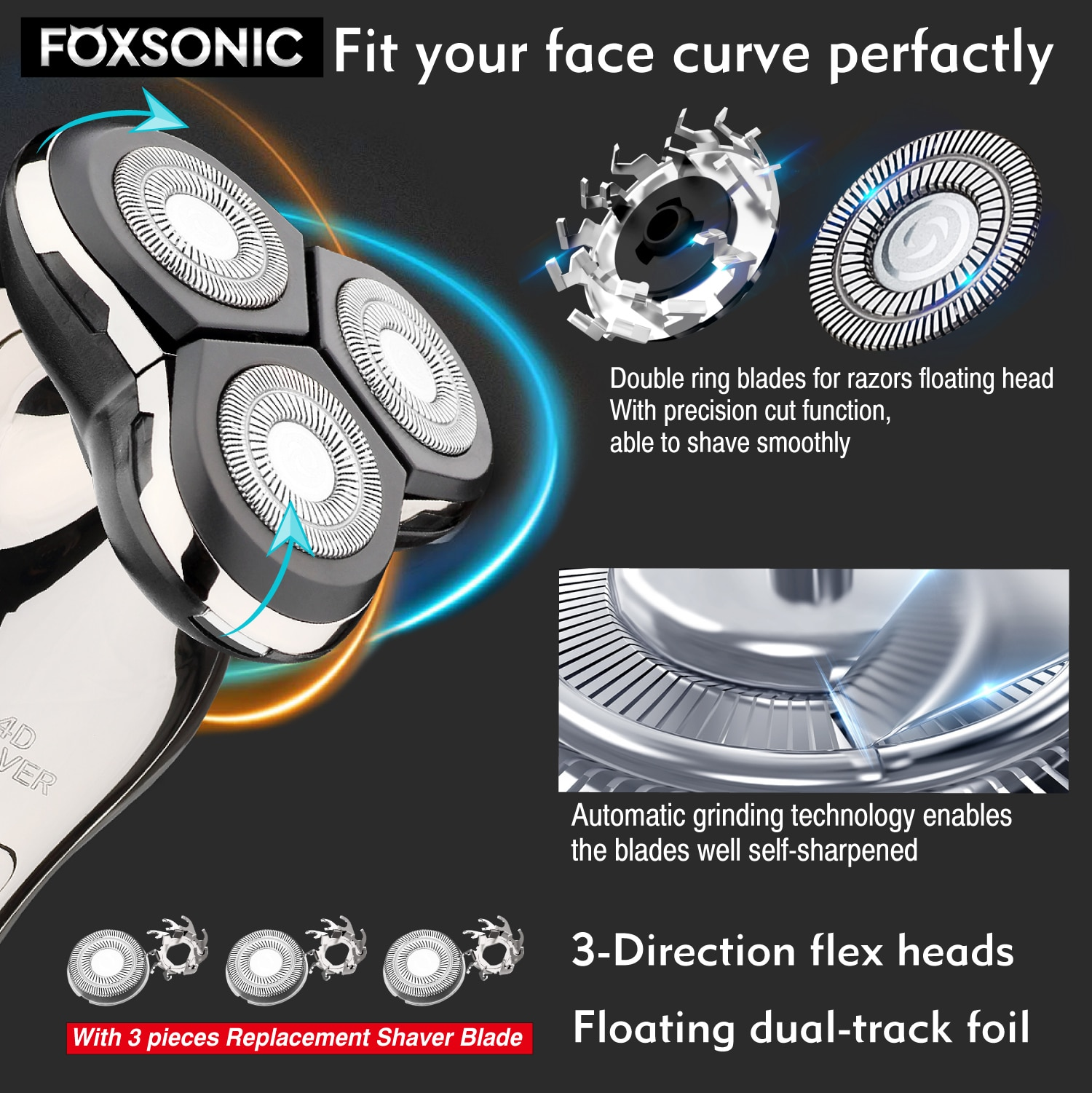 FOXSONIC Electric Shaver For Men 4D Electric Beard Trimmer Rechargeable Professional Men's Bald Floating Head Electric Shaver enlarge
