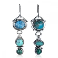 retro asymmetrical round stone pendant earrings womens earrings new fashion metal earrings accessories party jewelry