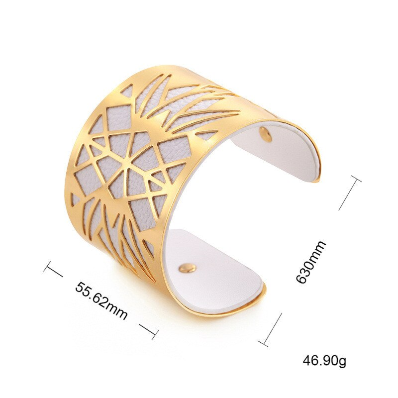 Gold Silver color Hollow Mesh Metal Bangle for Women Wide Faux Leather Open Bracelets & Bangles Fashion Jewelry Accessories