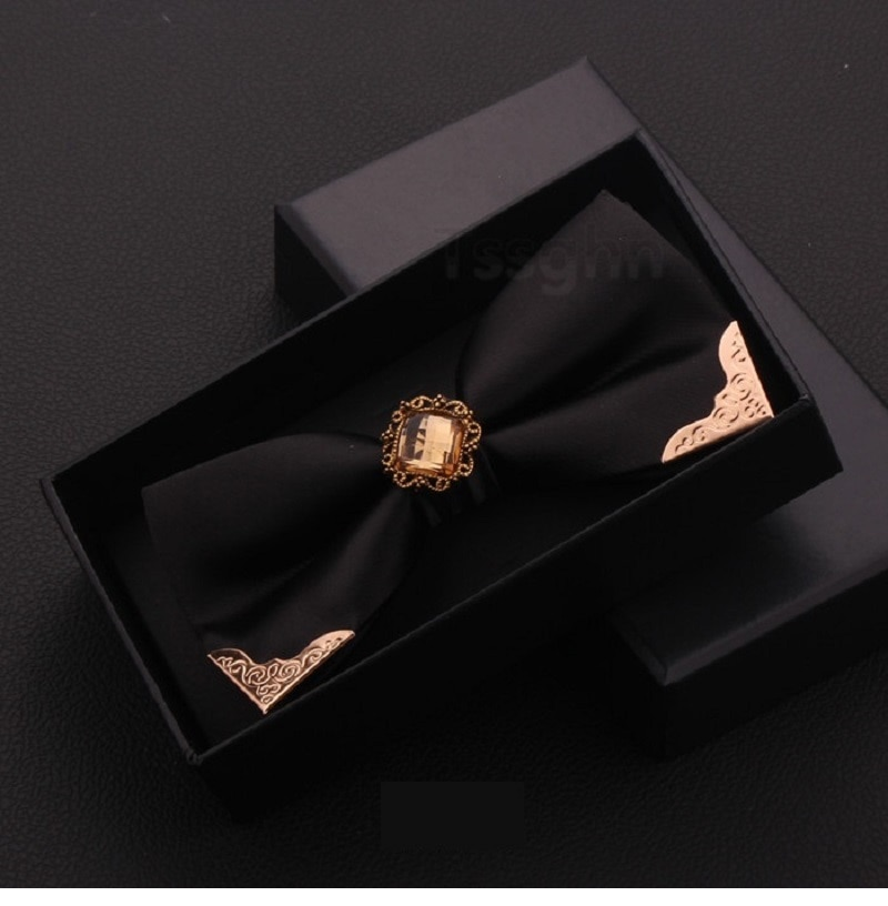 2020 New Fashion Men's Bow Ties Wedding Double Fabric Diamond BowTie Party Bridegroom Show Formal Butterfly Tie with Gift Box