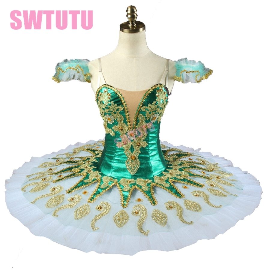 Vert enfant et adulte peformance ballet tutu princesse florina crêpe ballet tutu professionnel ballet scène costume BT9134H