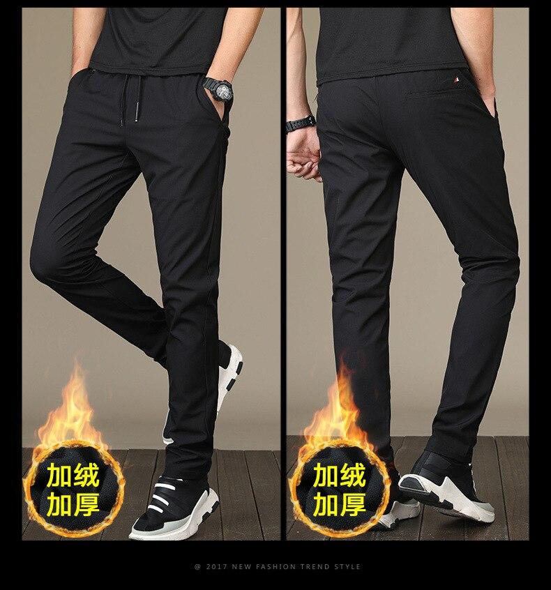 ¡Venta caliente! 2019 pantalones casuales de invierno para hombres pantalones de cintura elástica con forro grueso para hombres con bolsillos 2 J9553-6655-G de Color