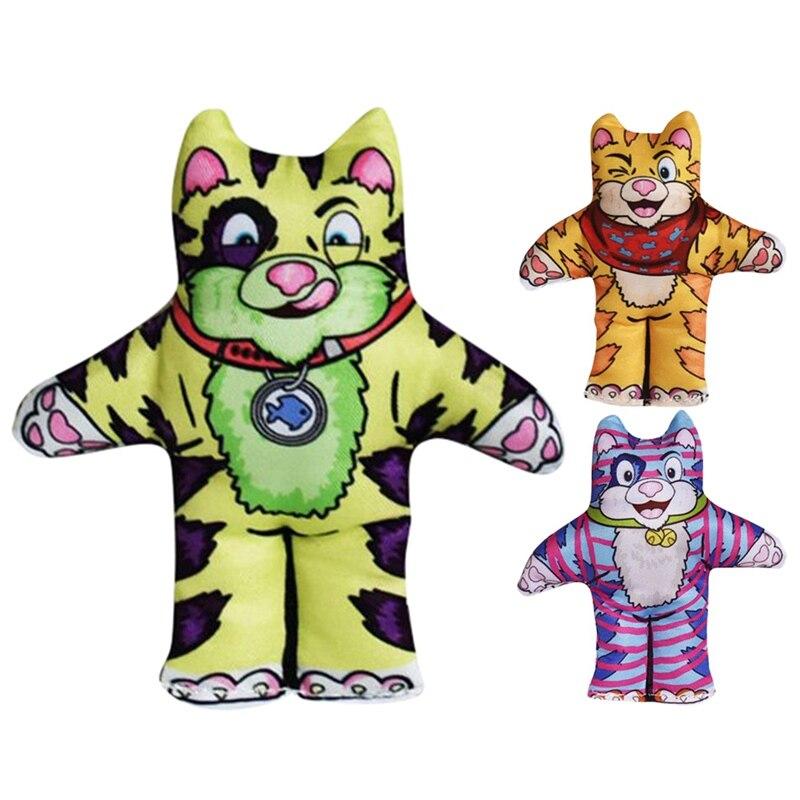 Mascota gato lienzo interactivo Tigre muñeca juguetes con Catnip gatito Slef-playing Molar Durable masticar juguetes suministros para mascotas
