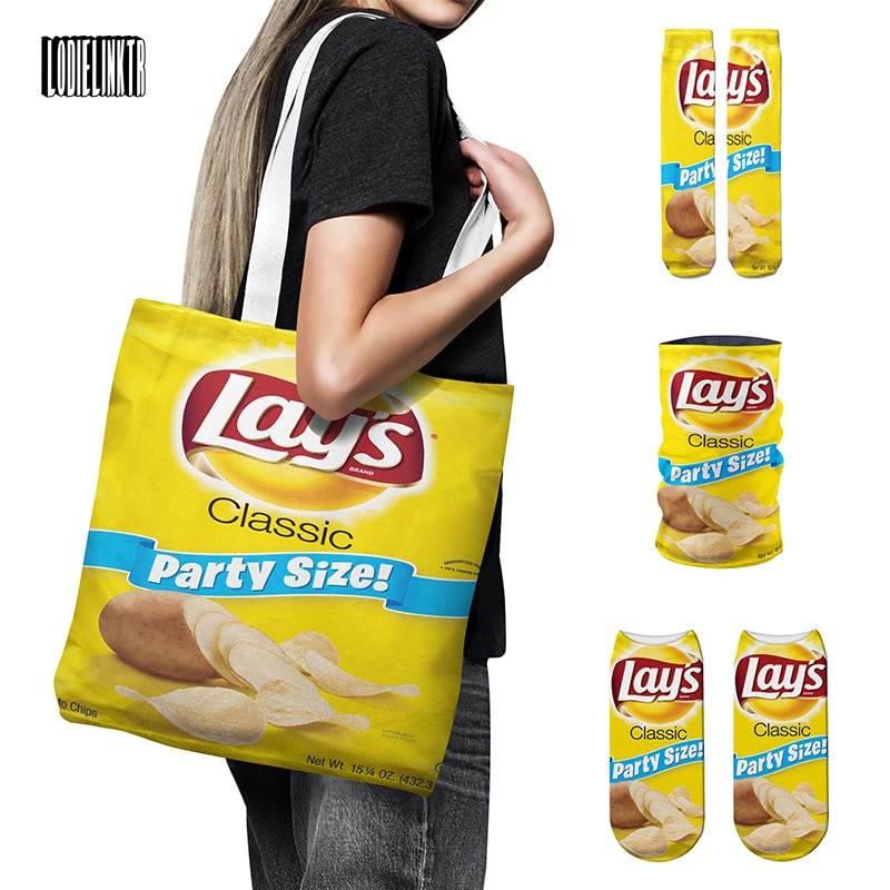 New Fun Potato Chips Series Handbag Set Women Cotton Socks Microfiber Scarf Headdress High Quality Canvas Shoulder Bag Gift Set