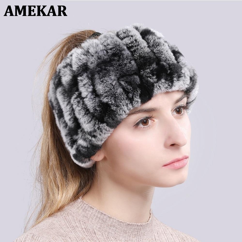 Rex Rabbit Fur Ring Scarves Warm Soft Women Genuine Rex Rabbit Fur Headbands Scarf Handmade Knitted