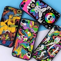 yndfcnb colourful psychedelic trippy art phone case for iphone 11 12 pro xs max 8 7 6 6s plus x 5s se 2020 xr cover