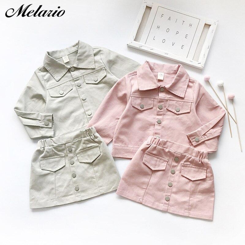 Conjunto de ropa informal de primavera para niñas, Chaqueta con botones de manga larga, traje de falda, 2 uds, conjunto de ropa para niños, conjunto de abrigo y falda