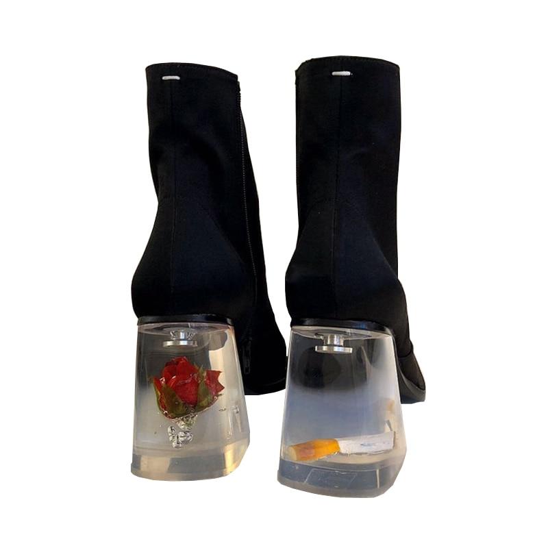 أحذية نسائية Famela أحذية براءات الاختراع والجلود موضة جديدة كريستال كعب سميك الجانب سستة الكاحل الجوارب ساحة تو واضح Heelys 2021