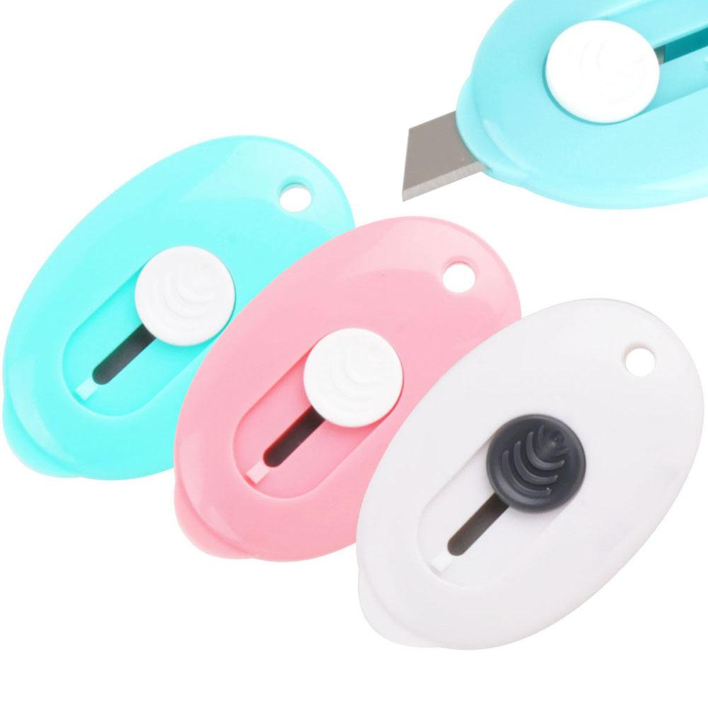 Oval portátil mini cortador de papel retrátil faca caixa aberta artesanato ferramenta diy