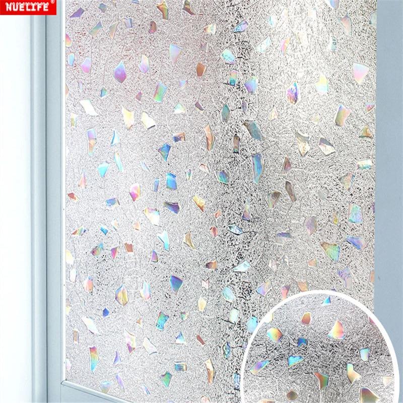 Etiqueta engomada de la película de vidrio mate electrostática libre de adhesivo 3D resistente a los rayos UV pegatina para baño adhesivo para ventana de balcón de oficina
