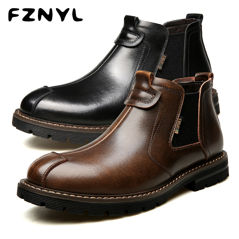FZNYL botas Martin para hombre invierno cálido cuero genuino alto calzado estilo británico clásico Casual transpirable motocicleta zapatos