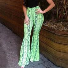 Néon Fluorescence vert serpent imprimé Flare Leggings automne hiver femmes mode Sexy moulante pantalon fête Club pantalon M0093