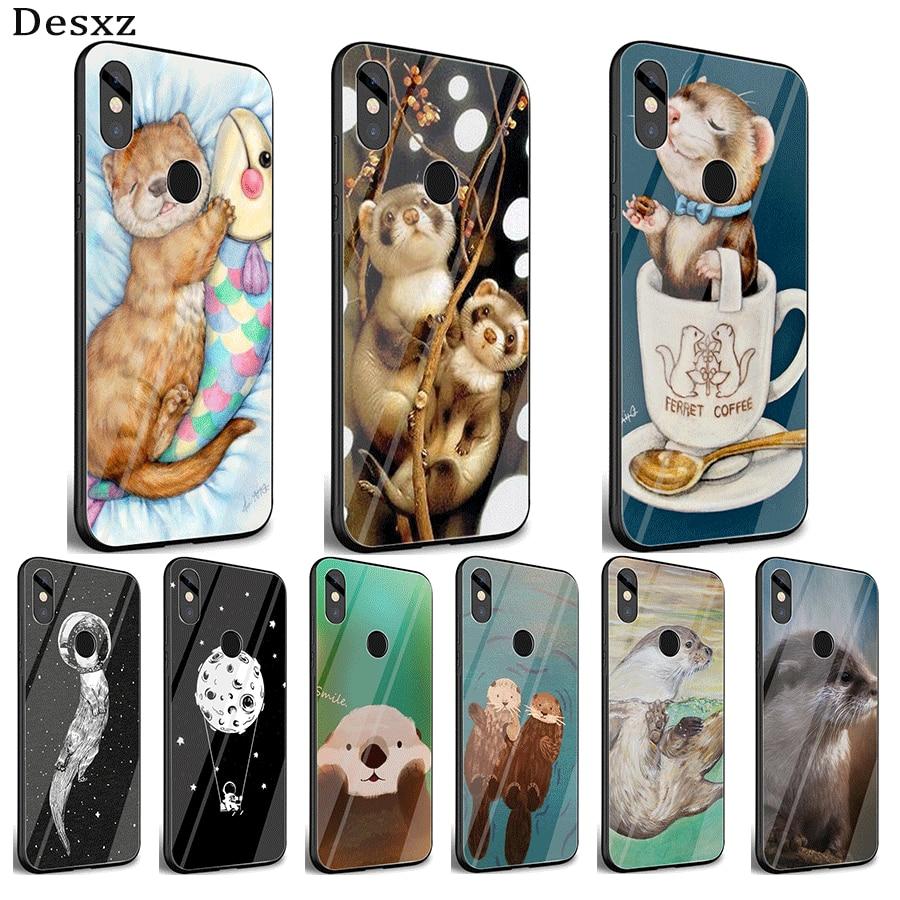 Funda de teléfono móvil de cristal TPU para Xiaomi Redmi 4X 6A Note 5 6 7 Pro cubierta Linda nutria animal de agua