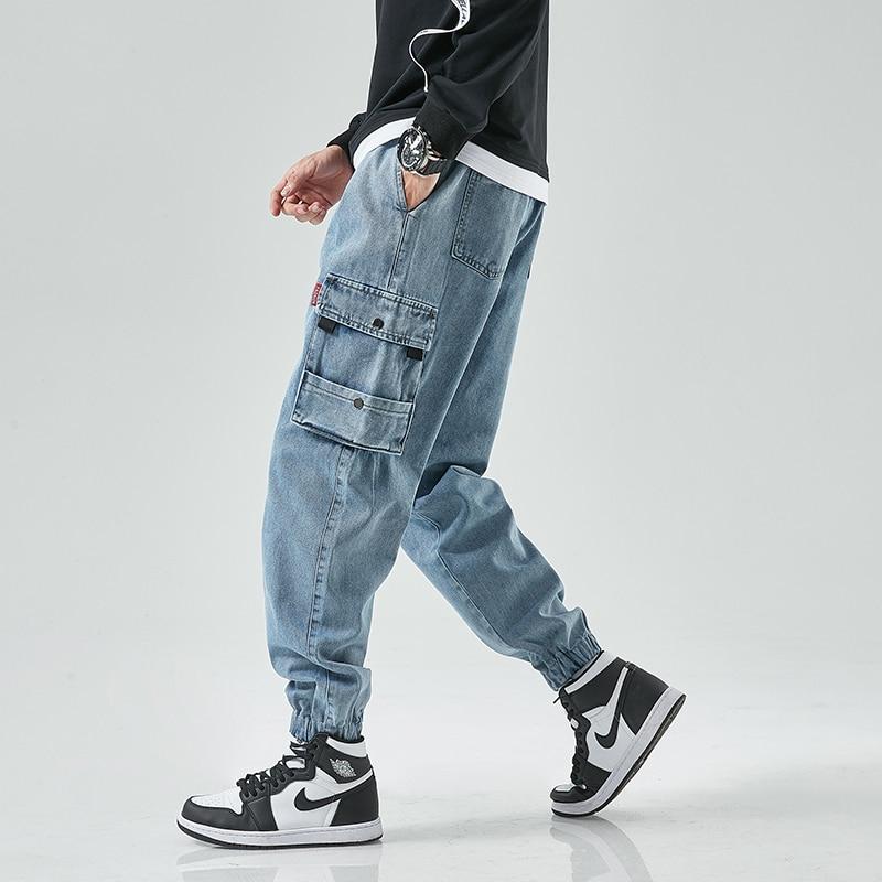Джинсы-карго мужские в стиле хип-хоп, модные повседневные джоггеры-султанки, брюки, уличная одежда, джинсовые аксессуары для мужчин