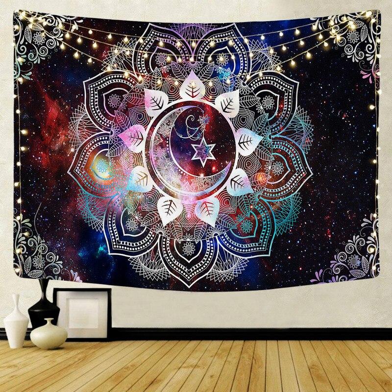 Настенный гобелен с мандалой, домашний декор, настенные гобелены, психоделический хиппи ночной гобелен с Луной, настенный подвесной ковер