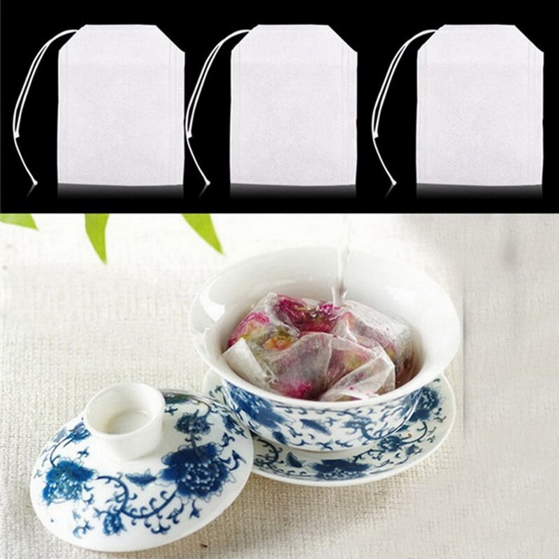 Bolsitas de té Draw String papel de filtro con sellado térmico hierbas sueltas bolsas de té vacías ecológicas telas no tejidas bolsa de té partición 100 Uds