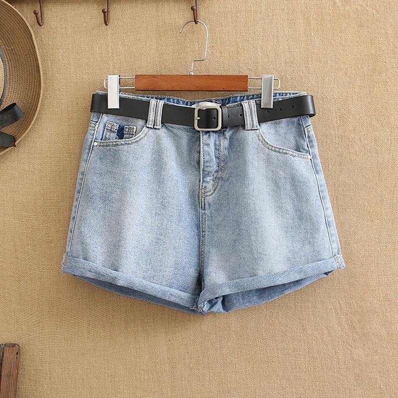 Jean Shorts Women Summer Plus Size Denim Short Leggings For Fatwomen Under 220 Pounds Wear Fashion Jeans The Belt Is A Freebie