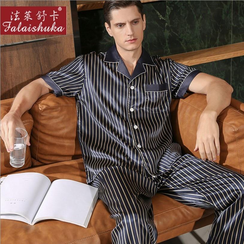 Пижамный комплект мужской шелковый, одежда для сна с коротким рукавом, домашняя одежда, комплект одежды для сна, Шелковый, Размер 3XL, 2020