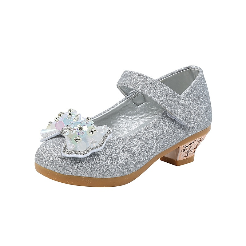 aikelinyu 2017 single fashion crystal child girls shoes children high heel shoes girls princess elsa shoes kids party anna shoes Girls Leather Shoes High-heeled Girls Shoes Show Children Crystal Single Shoes Kids Performance Shoes Children's Princess Shoes