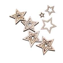 100 stücke Holz Holz Sterne Scrapbooking DIY Zubehör Holz Ornamente Laser Cut Stern Anhänger für Home Dekoration Handgemachte Handwerk