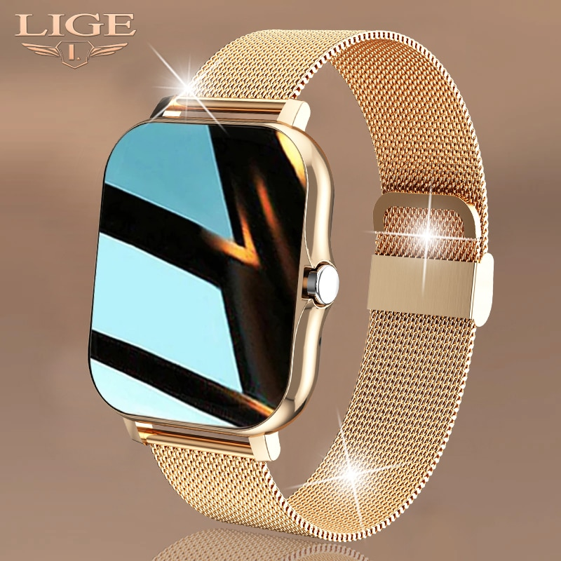 LIGE 2021 New Women Smart Watch 1.69 Color Screen Full Touch Fitness Tracker Bluetooth Call Smart Cl