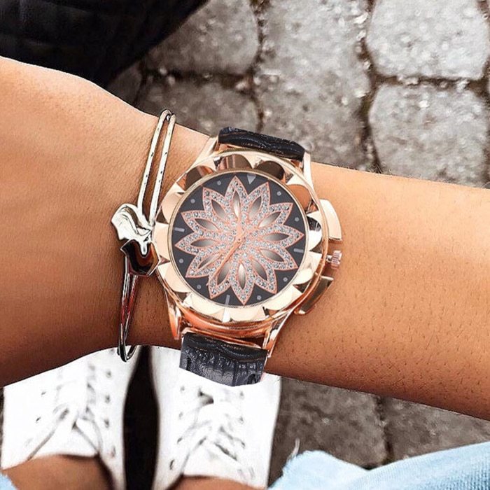 Diamond Hollow Out Flower Quartz Watch Women Antique Bracelet Jewelry Suit 7pcs / Set PU Leather Hand Clock Ladies Watches 2019 enlarge