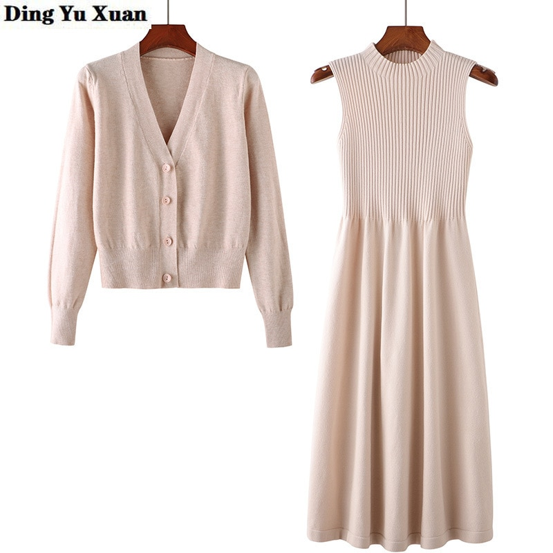 Womens Knitted Suits Single Breasted Sweater Sleeveless Dresses Autumn Knit Two Piece Set Winter Dress and Cardigan 2 Pieces