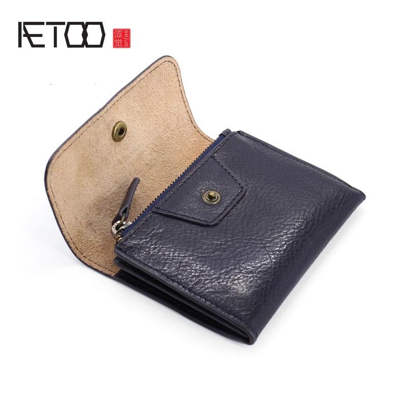 Aetoo artesanal moeda bolsa bandana vegetal curtido couro moedas pacote masculino & feminino retro mini pacote de cartão de couro pequena carteira tid