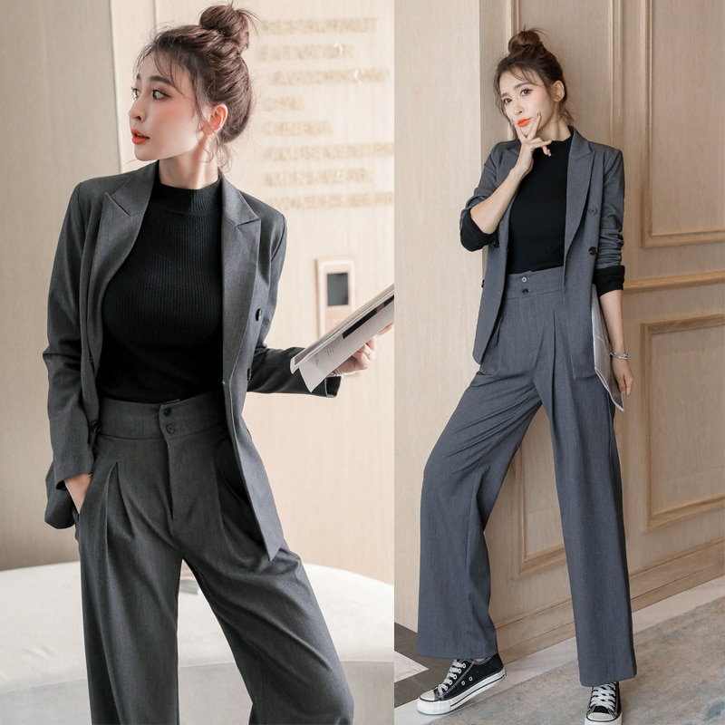 Two-Piece Gray Suit Female Spring and Autumn Pocket Wide-Leg Pants + Double-Breasted Blouse Office Business Wear