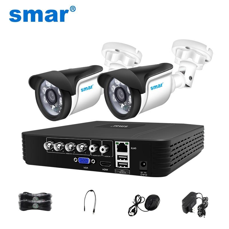 Smar 4CH 1080N 5in1 AHD DVR Kit CCTV System 2pcs 720P/1080P AHD Waterproof/Bullet Camera Security Surveillance Set Email Alarm