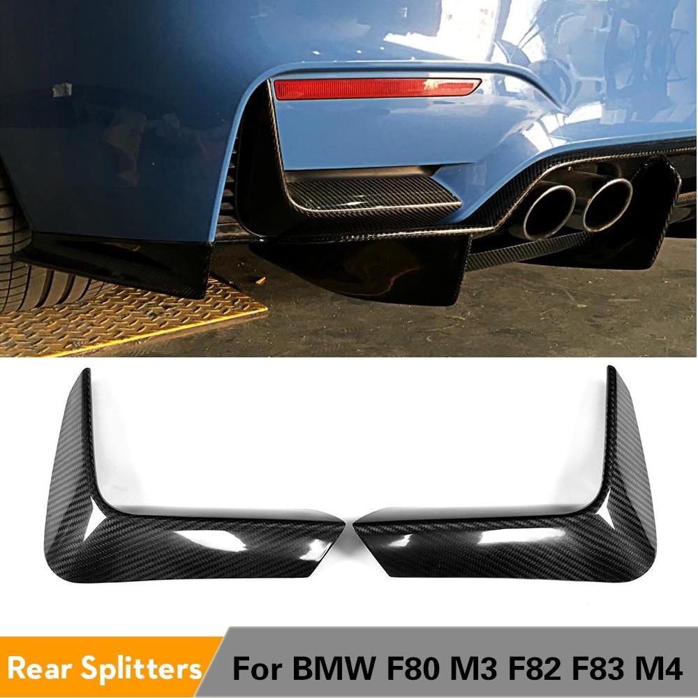 ألياف الكربون المصد الخلفي الناشر الشفاه الخطان الزاوية السفلى المفسد يغطي ل BMW F80 M3 F82 F83 M4 4 الباب 2 باب 2014 - 2019