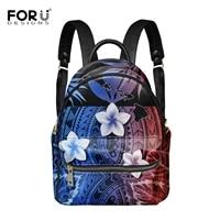polyneisan tribal plumeria pattern printed woman leather backpack fashion female pu backpack with zipper bolsa