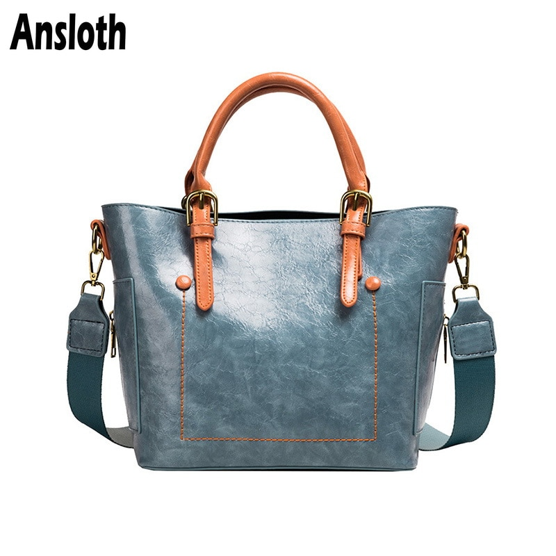 Ansloth Oil Wax Leather Shoulder Bag Women Hit Color Handbag Lady Zipper Crossbody Bag Bucket Bag Female Top-handle Bag HPS792