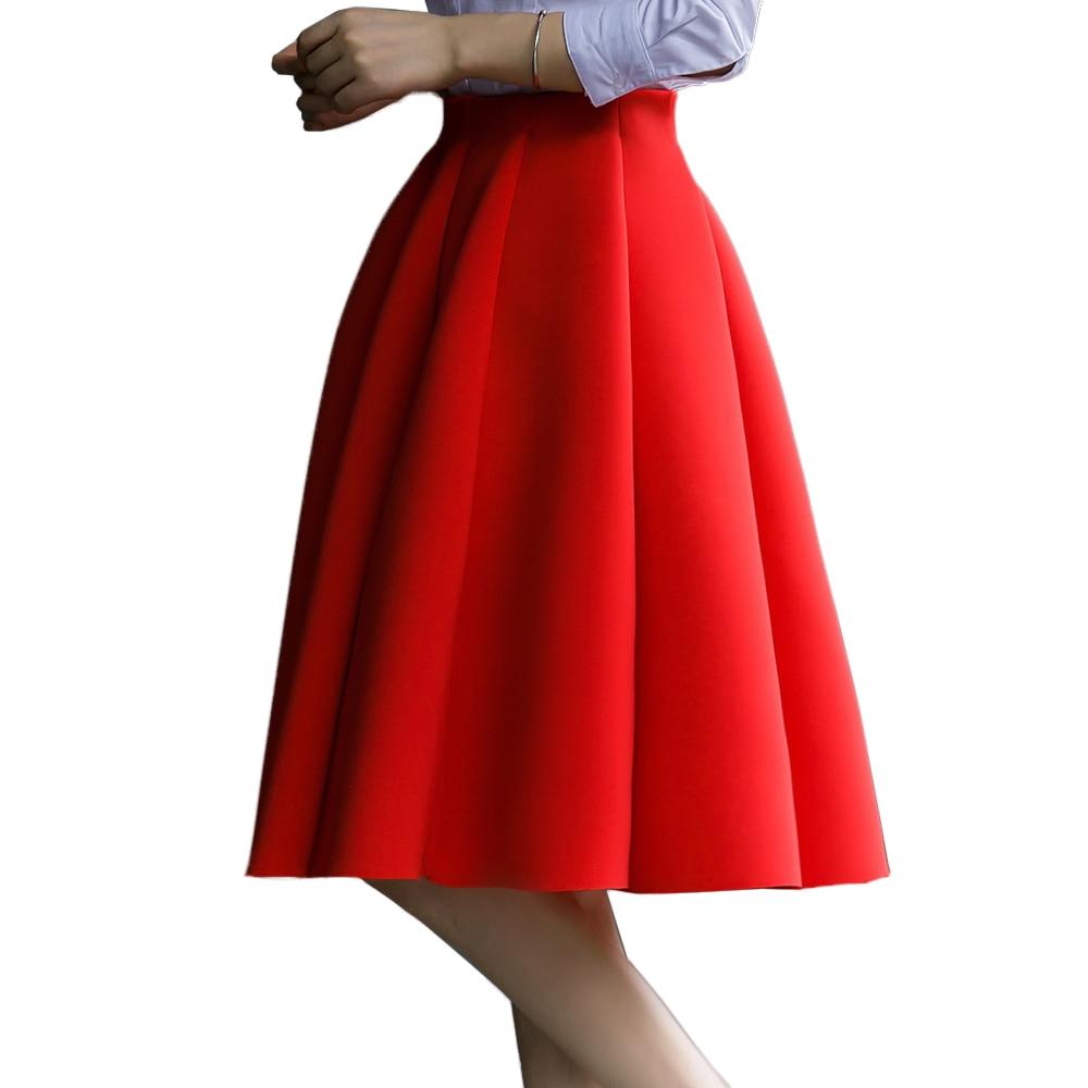 مطوي تنورة المرأة عالية الخصر تنورة ربيع الخريف الركبة طول 5XL حجم كبير مرونة الخصر الإناث أنيقة الإناث أسفل الأساسية