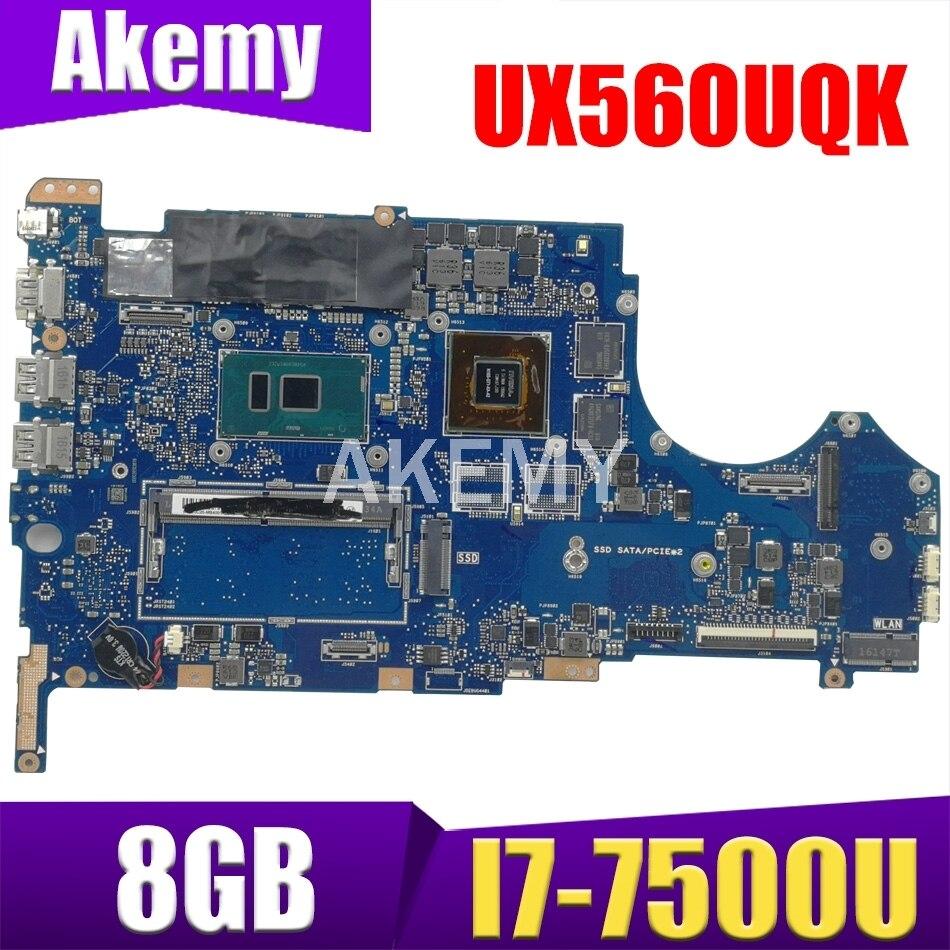 لوحة أم للكمبيوتر المحمول UX560UQK للوحة الأم ASUS Q534UQ UX560UX UX560UQ 8G RAM I7-7500U GT940MX 100٪ لوحة رئيسية أصلية للعمل