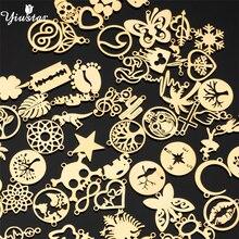 Yiustar 5pcs/Lot Skull Mickey Life Tree Moon Star Charms Stainless Steel Diy Jewelry Making bedels Necklace Bracelet Women Mens